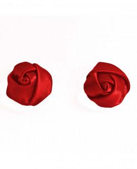 boucles d'oreilles : fleur de satin bleu roi - puces ou clip