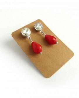 boucles d'oreilles rétro cristal blanc et goutte rouge