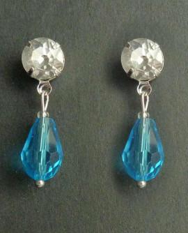 boucles d'oreilles cristal blanc et goutte bleu ciel