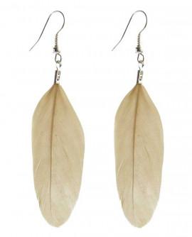 Boucles d'oreilles légères en plumes beige crème