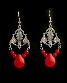 boucles d'oreilles baroques argenté pampille rouge