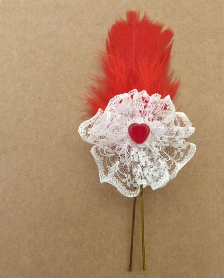 épingle à cheveux Coeur rouge et plumes rouges pour coiffure de mariée
