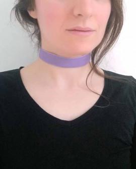 Collier ras de cou ruban de velours violet large