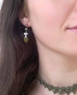 Boucles d'oreilles vert olive géométrie rétro