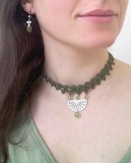 Parure rétro vert olive - collier et boucles d'oreilles