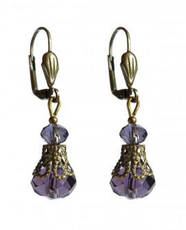 boucles d'oreilles baroque gothique violet foncé
