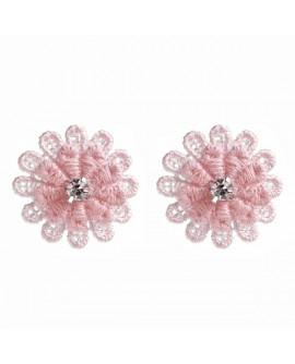 boucles d'oreilles puces fleurs rose pastel