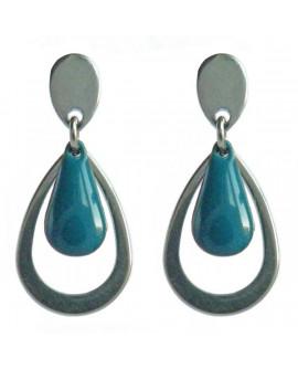 Boucles d'oreilles gouttes bleu pétrole et argenté