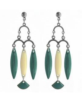 boucles d'oreilles vert émeraude, chandelier rétro