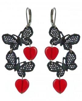 boucles d'oreilles pin up coeurs et papillons, rouge et noir