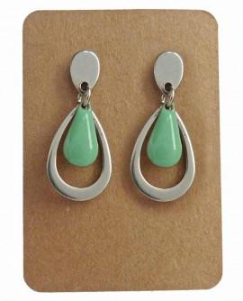 Boucles d'oreilles gouttes vert amande et argenté