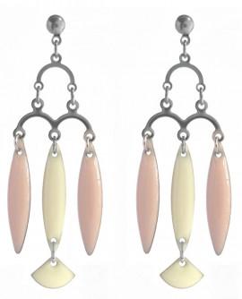 boucles d'oreilles rose et beige chandelier rétro