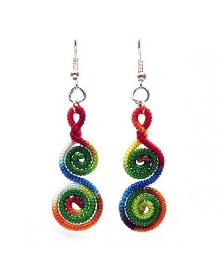 Boucles d'oreilles tourbillons multicolores