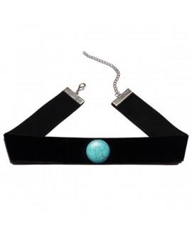Collier ras du cou en velours noir et sa perle bleu turquoise