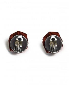 boucles d'oreilles fleurs rouge bordeaux - puces ou clip