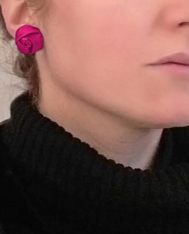 boucles d'oreilles puces fleurs rose fuchsia - clou ou clip