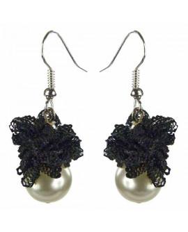 boucles d'oreilles dentelle noire gothique lolita discrètes