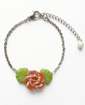 Bracelet chaînette à fleur rose de style romantique