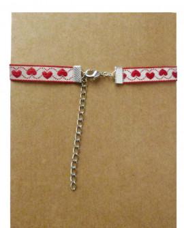 collier ras de cou coeur rouge St Saint Valentin