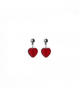 Boucles d'oreilles petits coeurs rouge