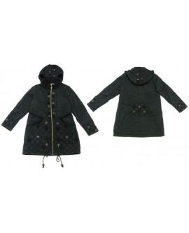 Noir brodée de motifs verts et rouge (manteau)