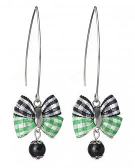 Boucles d'oreilles style rétro noeud papillon carreaux vichy