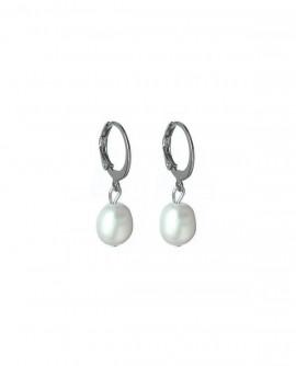 boucles d'oreilles mini créoles perles nacrées blanches