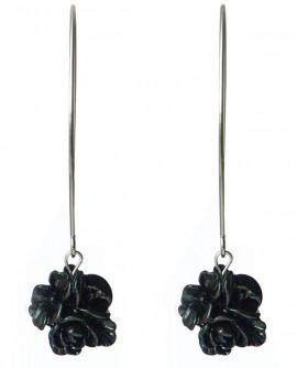 boucles d'oreilles longues à fleurs noires