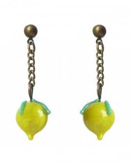 boucles oreilles citron jaune