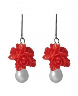 boucles d oreilles fleurs rouge et perles blanches