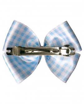 Barrette, grand noeud rétro à carreaux vichy bleu ciel