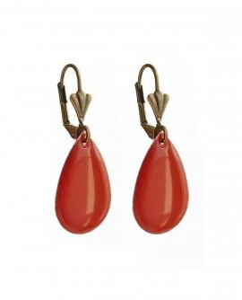 boucles d'oreilles gouttes rouge vermillon - dormeuses très légères