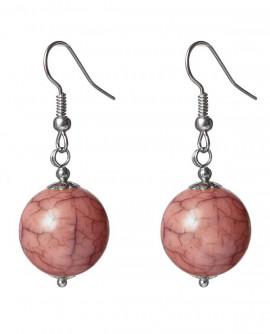 Boucles d'oreilles grosse perle boule vieux rose effet marbre