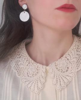 boucles d'oreilles disque de nacre blanche