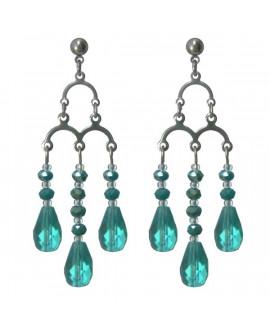 boucles d'oreilles chandelier vert émeraude