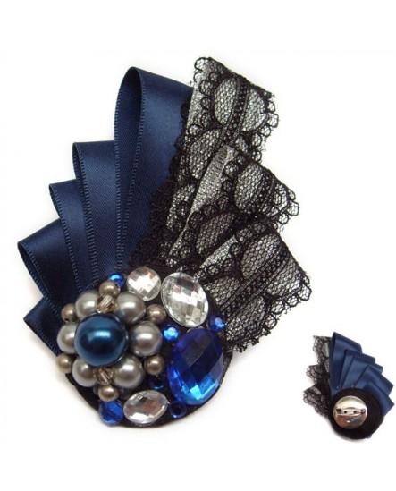 Rubans et Dentelle Bleu et Noir (Broche)