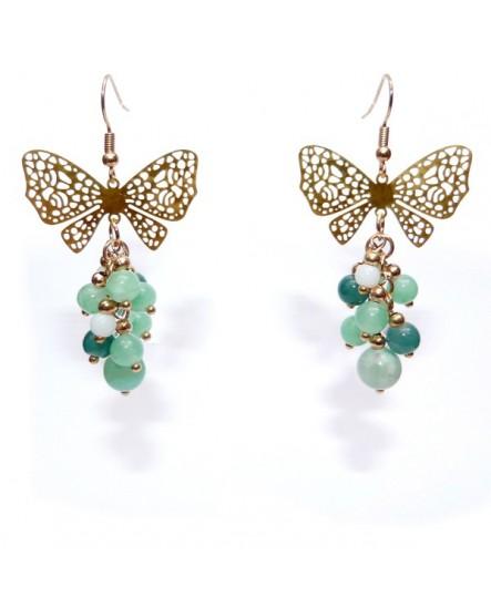 Papillon et grappe verte  (Boucles d'oreilles)