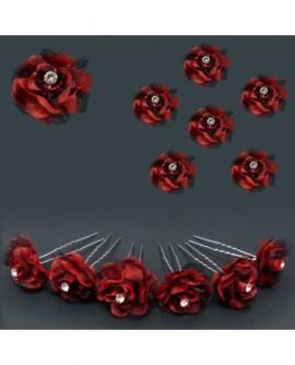 Lot de 6 épingles – mariage – fleurs rouge & noire