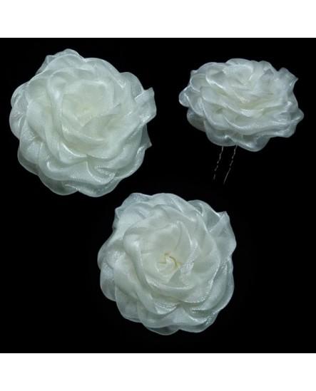 2 épingles - grandes fleurs en organza blanc