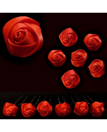 Lot de 6 épingles – Roses en satin ROUGE