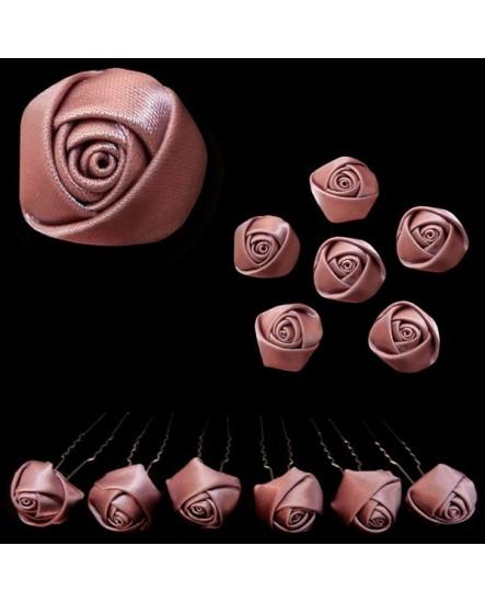 Lot de 6 épingles – Roses en satin VIEUX ROSE