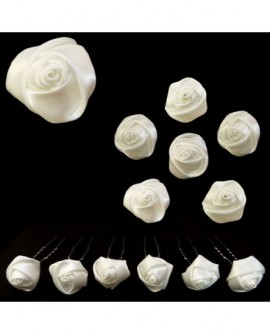 Lot de 6 épingles – Roses en satin BLANC