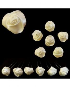 Lot de 6 épingles – Roses en satin IVOIRE