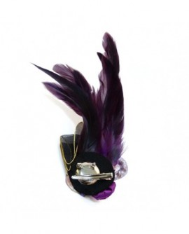 Rubans, Perles et Plumes – tons Violet et Noir (2 fonctions : Broche et Pince à cheveux)