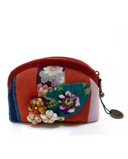 porte monnaie rouge à fleurs en tissu