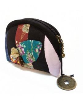 Porte monnaie noir à fleurs en tissu