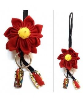 Porte-Clés fleurs rouges