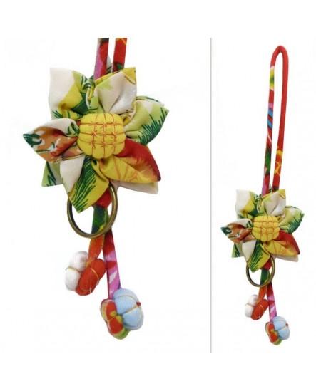 Porte-Clés fleurs beige à motifs multicolores