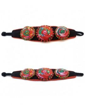 Manchette perles et spirales multicolore (Bracelet)
