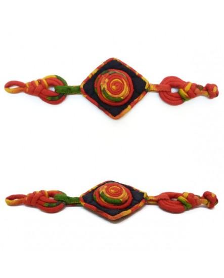 Bracelet Losange et spirale rouge orange vert